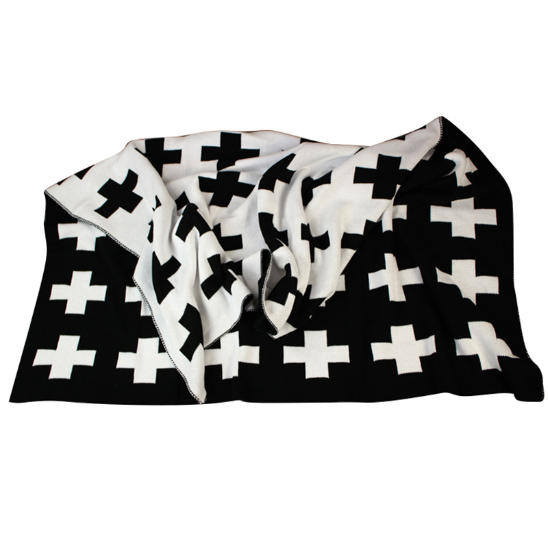 Baby Blanket Black White Cute Rabbit Swan Cross Knitted Plaid For Bed Sofa Bedding Stroller Blanket Bath Towels Play Mat Gift comfortable knitted square plaid floral hollowed sofa blanket