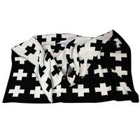 Baby Blanket Black White Cute Rabbit Swan Cross Knitted Plaid For Bed Sofa Bedding Stroller Blanket