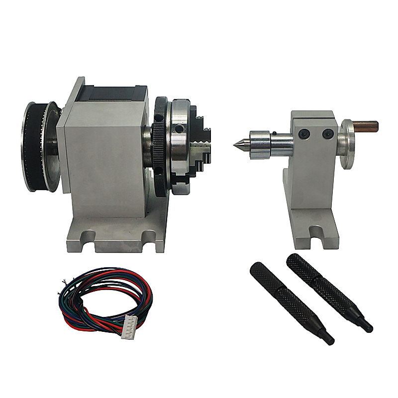 CNC Tailstock And Rotary A Axis 4th Axis For CNC Router Engraver Milling Machine CNC Rotary Axis Chuck 65mm Activity Tailstock