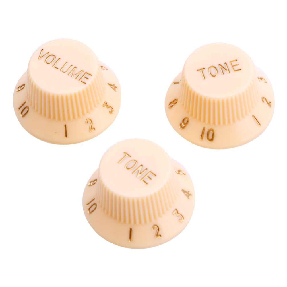 3PCS E-Gitarren Strat-Volumen-Ton Speed Control Knobs Black Button Cap