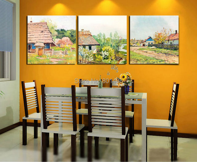 Factory Price 3 pieces 40x40cm country landscape wall art painting ...