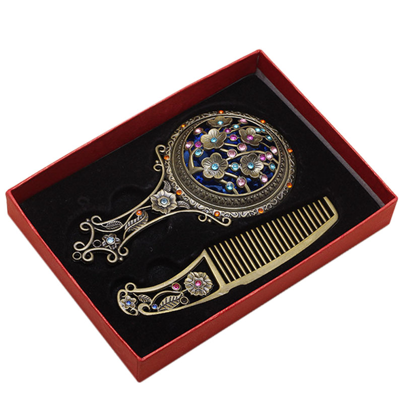 New Arrivals Portable Chinese Traditional Vintage Cosmetic Make Up Rhinestone Mirror Comb Set Gift Souvenirs for Girl Women