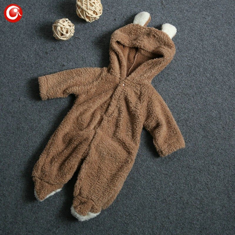 2016 Cute Winter Warm longsleeve coral fleece infant baby Romper cartoon winter Jumpsuit boys girls animal overall menino menina (7)