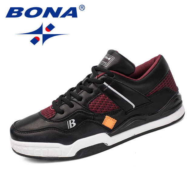 BONA New Classics Style Men Skateboarding Shoes Lace Up Men Athletic Shoes Outdoor Jogging Shoes Leather Men Sneakers Shoes