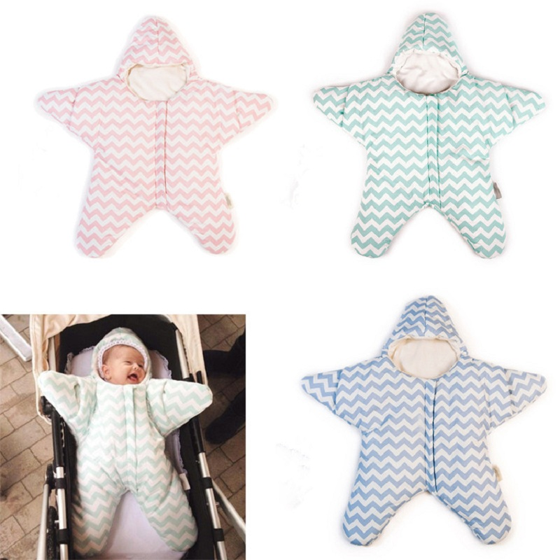 2017 Baby sleeping bag star shape winter warm stroller sleeping bag for newborn striped cotton baby sleeping bag retail CR082