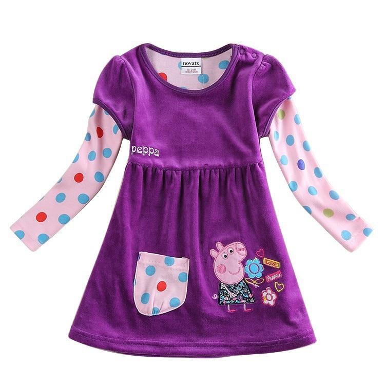 3 colors baby dresses new nova kids girls winter Shear plush frocks casual kid clothes frock - NOVA & NOVATX Factory Store store