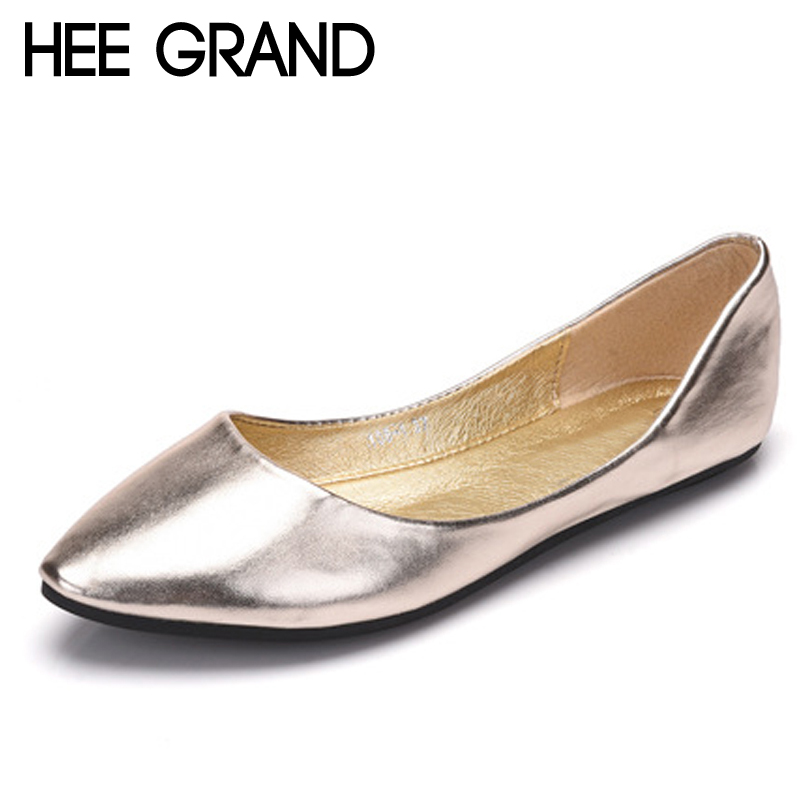HEE GRAND Gold Sliver Platform Loafers Slip On Ballet Flats Comfortable Creepers Casual Women Flat Shoes Plus Size 35-43 XWD6441 hee grand pearl ballet flats 2017 crystal loafers bling slip on platform shoes woman pointed toe women shoes size 35 43 xwd4960