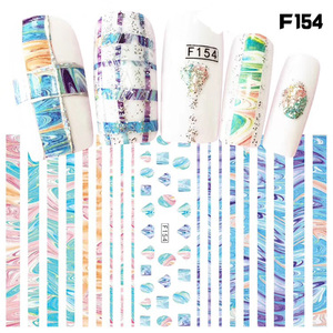 Image 5 - 1 sheet New Fashion 3D Nail Stickers colorful  Stripe Lines Nails Sticker  Striping Tape  Decorations Manicure Z067