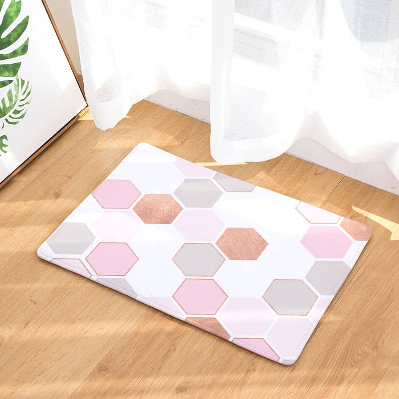 CAMMITEVER Geometric Hexagon Honeycomb Pink Champagne Bedroom Rug Living Dinning Kitchen Area Rug Area Rugs for Bedroom Kids