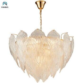 Salon luxe verre or pendentif LED chaîne lumineuse suspension lampe pendentif LED E14 lampe à LED suspendre lampe éclairage intérieur