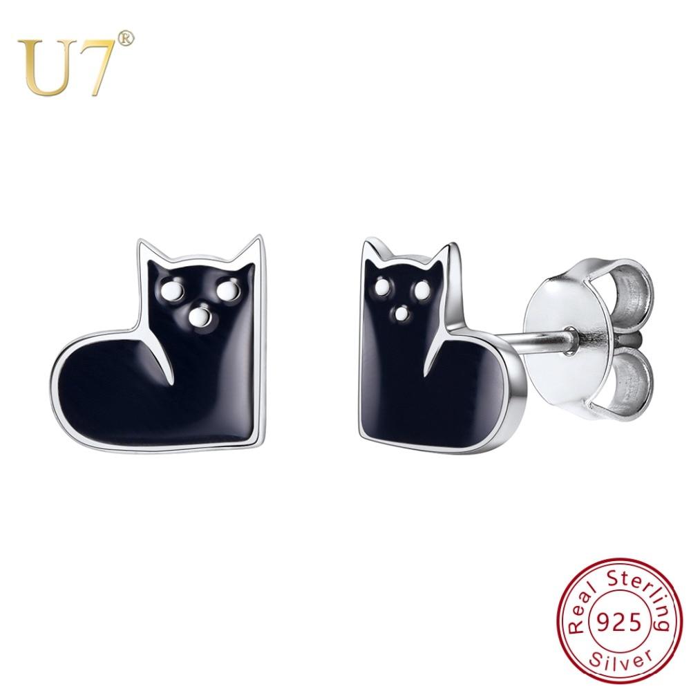 U7 925 Sterling Silver Cute Cat Earrings White Black Enamel Kitty Piercing Ear Animal Stud Earrings Women Girls Jewelry Sc170 Stud Earrings Aliexpress