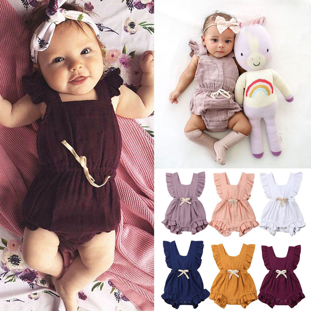 Newborn Baby Girls Ruffle One-Pieces Sleeveless Solid Color Backless Bow Romper Jumpsuit Outfits Cute #K5