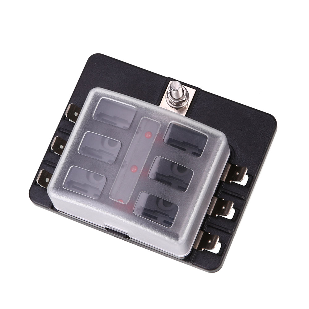 Vehemo Fuse Box 6Way LED Indicator Light Safety PC Wiring Terminal Insurance ABS Black