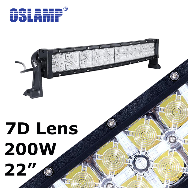 Oslamp 7D 22inch Curved Led Work Light Bar+Daytime Running Light Combo 200W Offroad Driving Light 12/24V Car SUV Pick-Up Led Bar brand new universal 40 w 6 inch 12 v led car work light daytime running lights combo light off road 4 x 4 truck light