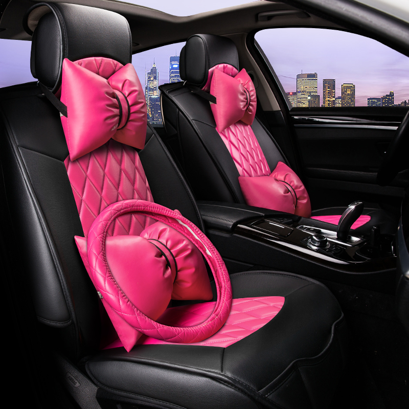 Lovely Girl Style Car Seat Cover Cushion For Hyundai i30 ix35 ix25 Elantra Santa Fe Sonata Tucson 2016 Solaris Veloster Accent ...