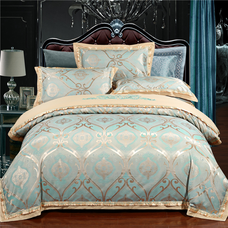 2017 Luxury 22 types Silk Cotton Jacquard luxury Bedding Set Queen king size 4Pcs Duvet cover set Bedsheet bed linen Pillowcases