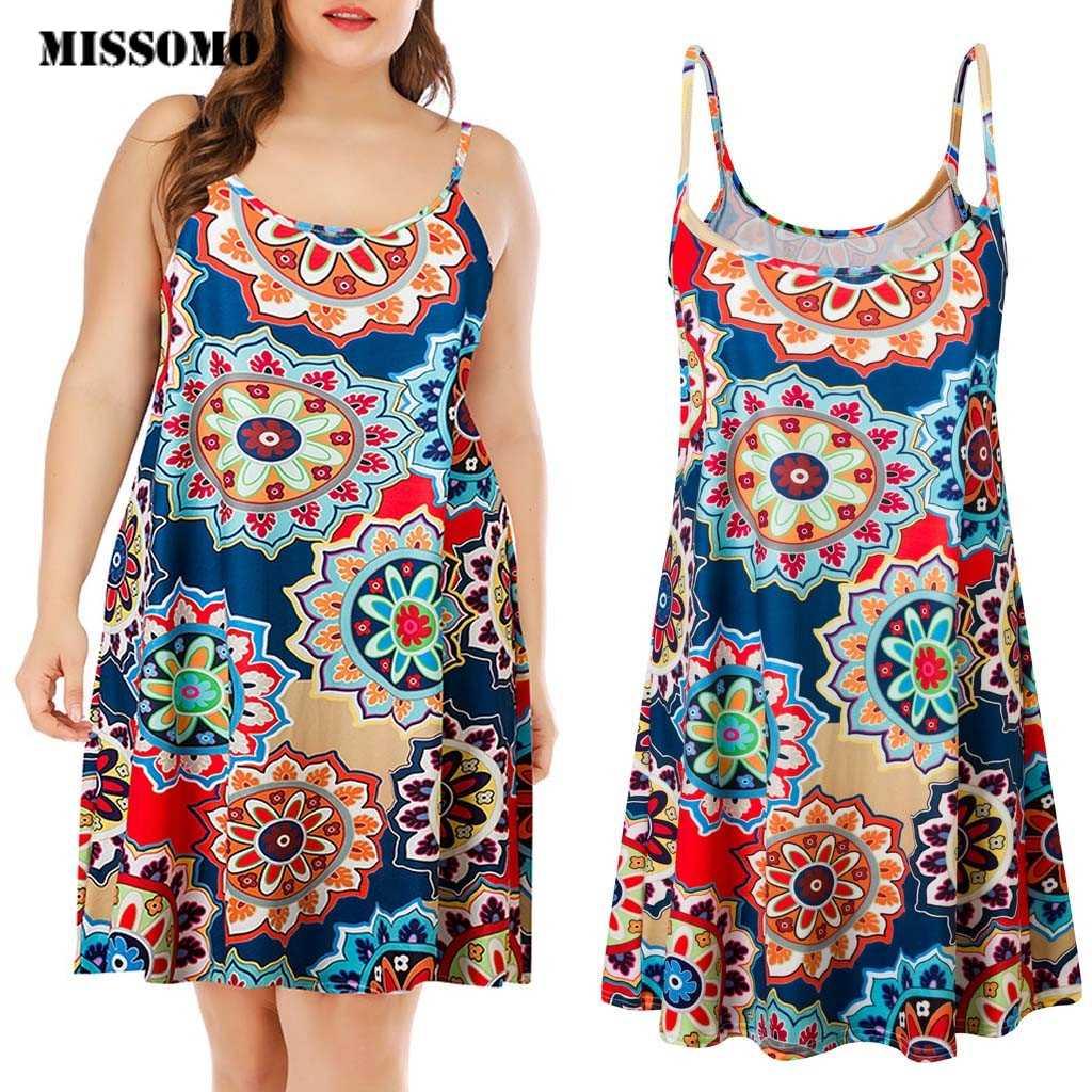 MISSOMO プラスサイズ 5XL 女性のカジュアルなプリントノースリーブ膝ミニドレス夏ドレスサンドレスビーチドレスパーティー vestidos