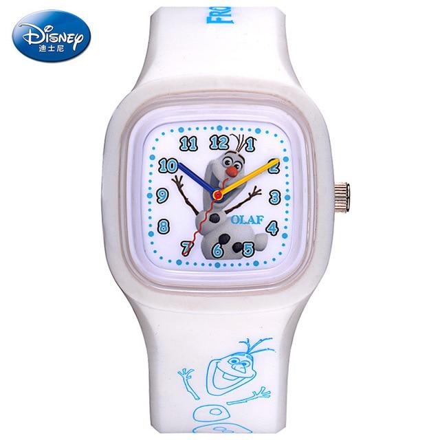 square Childrer Girls boys quartz wristwatches Disney brands Frozen Cartoon kids  Silicone Child watches relogio clocks