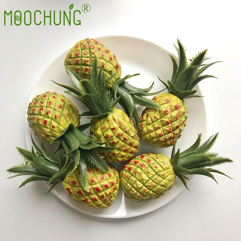 Moochung 6pcs Mini Plastic Artificial Pineapple Fruits For Diy