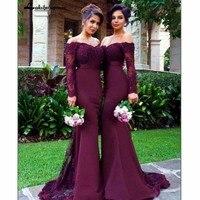 Бургундия с открытыми плечами платье подружки невесты с длинным рукавом свадебное платье для вечеринки эластичное атласное женское платье