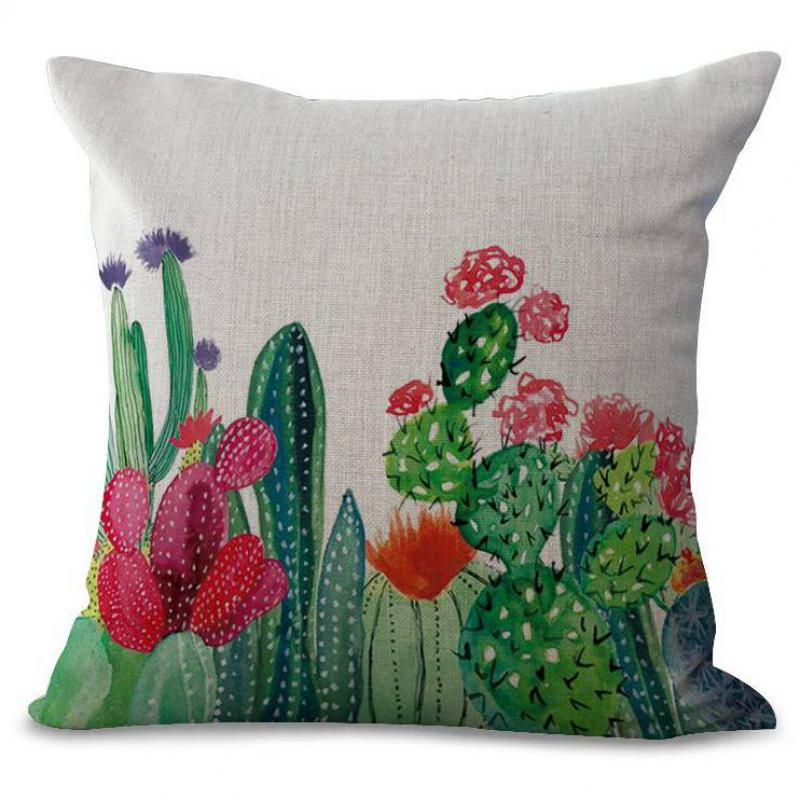 Chair Cushion Cover Computer Chairs For Sale Hand Painted Tropical Succulent Plants Cactus Decorative Cotton Linen Pillow Home Sofa ...