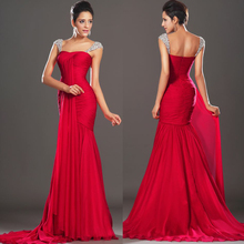 New Arrival Elegant Long Chiffon Red Mermaid Evening Dresses Pleated Beaded Formal Gowns Floor Length 2015