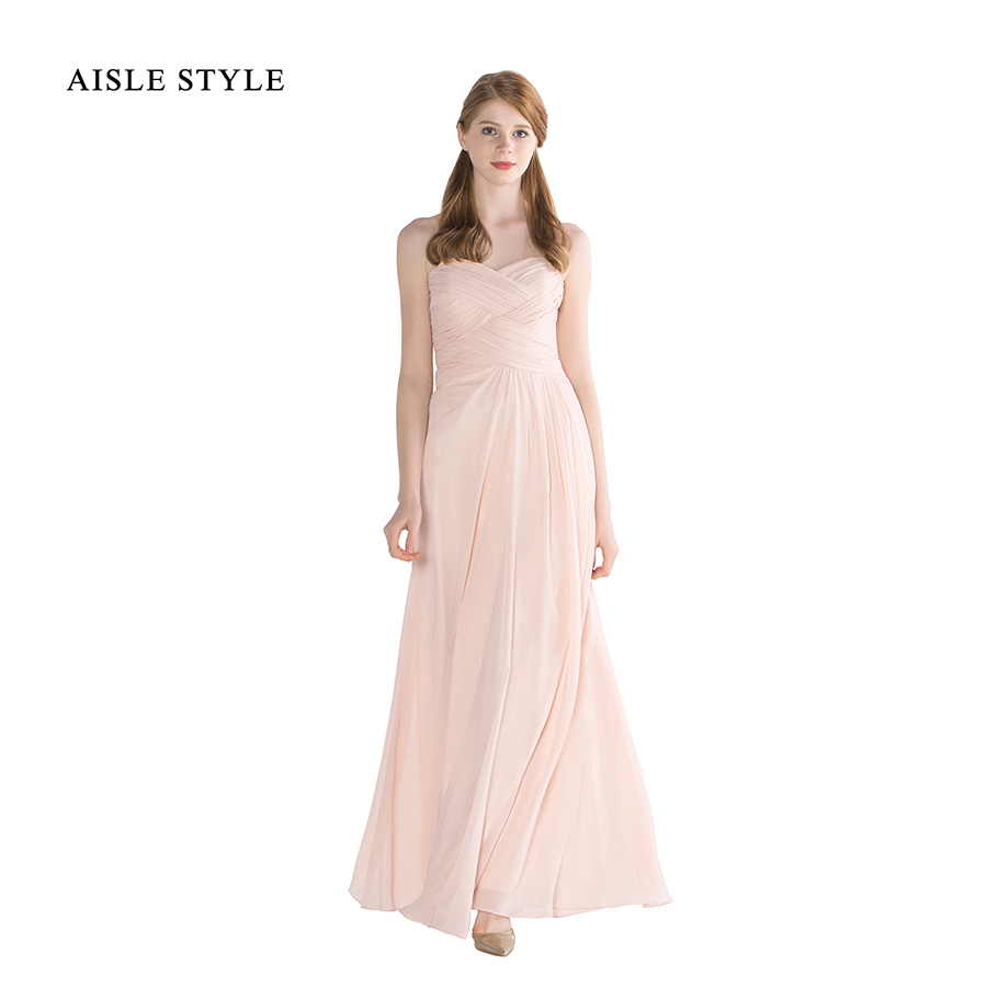 Aisle style long beach bridesmaid dresses sweetheart for Long flowy wedding dresses