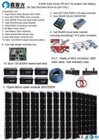 Solar Panel 24V 110v 220V 2500W Solar Home off grid tie systems sea shipment 10pcs 250W mono solar modules bracket battery
