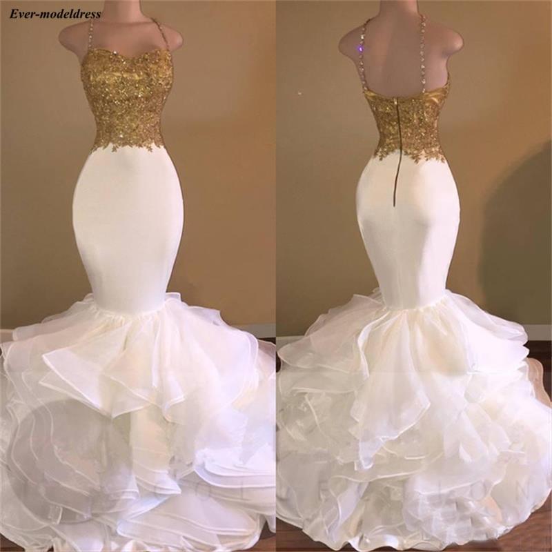 Sexy blanc et or sirène robes de bal longues Spaghetti Appliques perlées longueur de plancher robes de bal vestido formatura festa