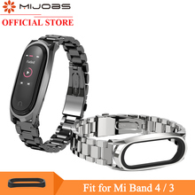 Mijobs Mi Band 3 4 Strap for Xiaomi Mi Band 3 Wristband Smartwatch Mi band 4 Wrist Bracelet Miband 4 Wrist Strap Metal Stainless replacement ventilate sport soft wrist strap wristband for xiaomi mi band 3 wearable devices smartwatch relogios