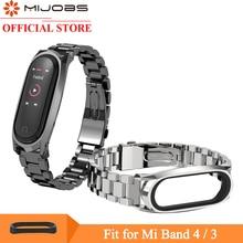 Mijobs Mi Band 3 4 Strap for Xiaomi Wristband Smartwatch band Wrist Bracelet Miband Metal Stainless