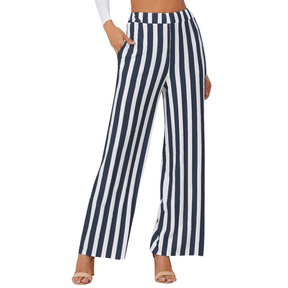 Sleeper#401 2019 NEW FASHION Women Casual New Fashion Stripe Print   Wide     Leg     Pants   Leggings black&white daily wear Free Shipping