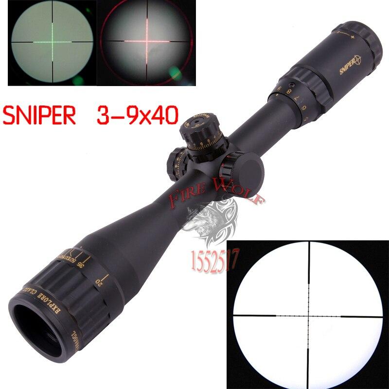 Tactical Rifle Scope SNIPER 3-9X40 Hunting Mil Dot Air Rifle Gun Optics Sniper Golden Version hunting 3 9x40 optics illuminated tactical rifle scope