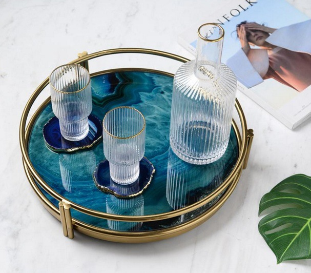 Ray nordic luz luxo banhado a ouro placa de exibição armazenamento vidro amostra placa sala chá conjunto chassis ágata azul - 3