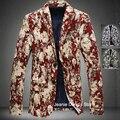 4XL Primavera Otoño Moda Hombres Impresa Flor de Manga Larga Traje de Cuello Chaqueta de la Capa, hombres Con Estilo Ocasional Slim Fit Blazers Para Los Hombres