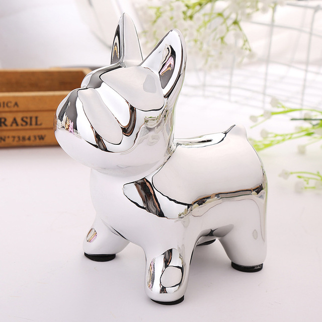 European Ceramic Crafts Bulldog Piggy Bank Home Decor Cute Piggy Bank Ornaments Creative Bulldog Money Box 3