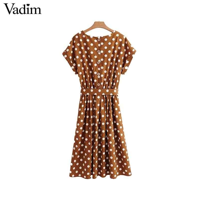 Vadim vintage nœud papillon ceintures dot motif robe mi-longue taille élastique à manches courtes d'été dames robes décontractées vestidos QA092