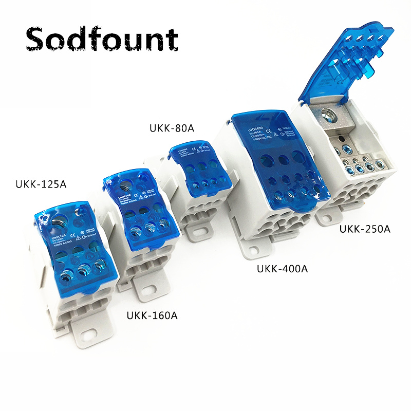 UKK80A 125A 160A 250A 400A 500A Terminal Block 1 In Many Out Din Rail Distribution Box Universal Electric Wire Connector