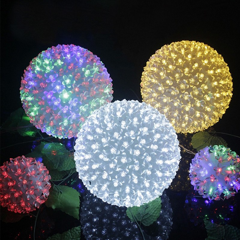 Large LED Cherry Blossom Flower Ball Lights  LED Cherry Christmas Lights String For Garland Wedding Home Party Garden Dia.20cm