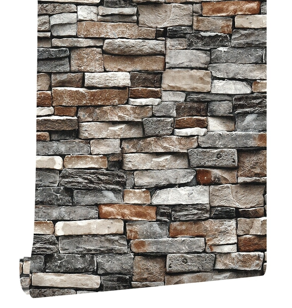 HaokHome Vintage Faux Brick PVC Wallpaper Rolls Rust 3D Stone Stacked Photo Dark Grey Home Kitchen Bathroom Wallpaper Decor haokhome vintage faux marble stone pvc wallpaper rolls taupe black 3d brick realistic murals home bedroom living wall decoration