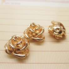 6PCS 13*9MM 24K Champagne Gold Color Brass Rose Flower Bracelets Spacer Beads High Quality Jewelry Findings Accessories