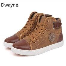 Dwayne Men's Vulcanize Shoes Lace-up Men Casual Shoes Fashion High Top High Pipe Retro Comfortable Men's Flat Shoes size 39-46