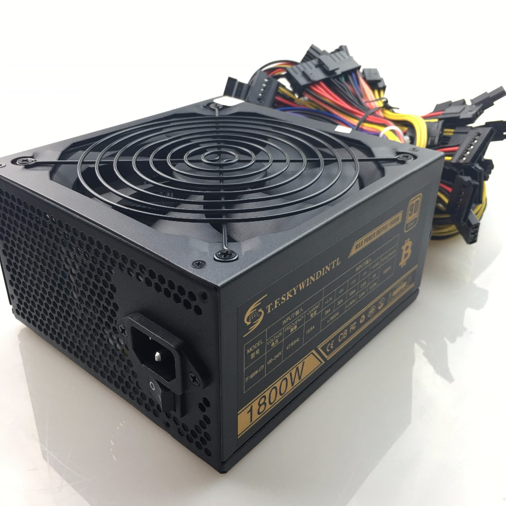 T.F.SKYWINDINTL 1800W 20+<font><b>4</b></font> PIN Power Supply Mining Rig mining power supply Ethereum coin Atx Asic Bitcoin miner RX480 <font><b>RX470</b></font> 570 image