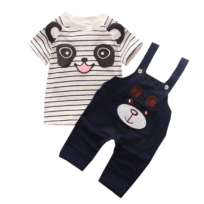 Summer Toddler KidsSports Suit Boy Little Bear Stripe Short-Sleeve T-shirts+ Straps Pant 2pcs Cute Animal Panda Fashion Outfits