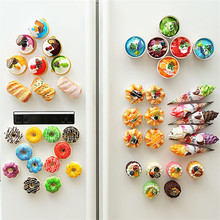 6pcs Fridge Magnets Artificial Breads Shape Magnet Button Cactus Refrigerator Messages Stickers Decoration