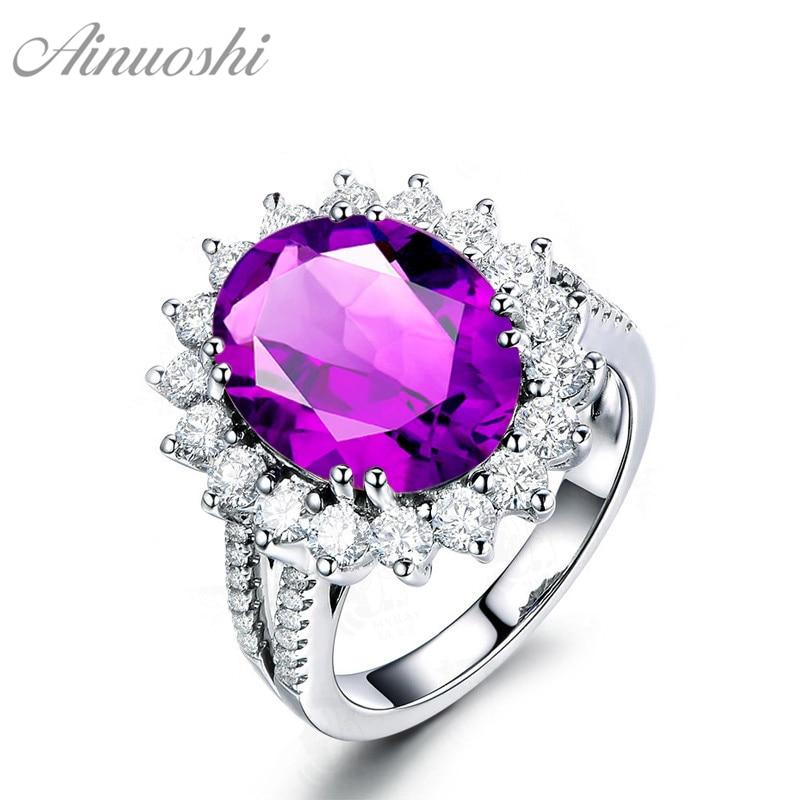 AINUOSHI duże naturalne ametyst kwiat pierścień 5 karatów szlifem w szlifie owalnym 925 Sterling srebrny pierścień biżuteria na przyjęcie zaręczynowe kobiety pierścień w Pierścionki od Biżuteria i akcesoria na  Grupa 1
