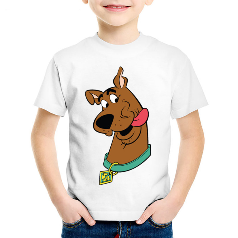 Cartoon Print Scooby Doo And Shaggy Children Funny T shirt Kids Mystery Machine Summer Tee Boys/Girls Tops Baby Clothes,HKP5086 girls banana print tee