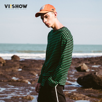 VIISHOW 2017 New Long Sleeve T Shirt Men Striped Slim Fit Curl Hem O Neck Fashion