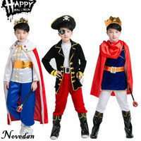 Boys Pirate Costumes King Prince Fantasia Children Halloween Costume For Kids Party Christmas Gift With Sword