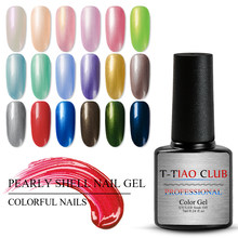 T-TIAO Club 7 Ml Chameleon Shell Kuku Gel Polandia Shimmer Pearl Glitter Rendam Off Uv Gel Pernis Kuku Seni Manikur lacquer(China)